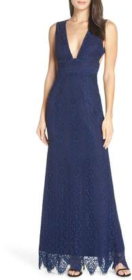 Foxiedox Charlie Plunge Lace Evening Dress