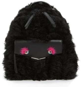 Fendi 'Mini Monster' Genuine Shearling & Genuine Mink Fur Backpack