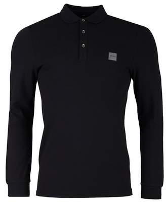 BOSS Casual Passerby Logo Pique Long Sleeved Polo