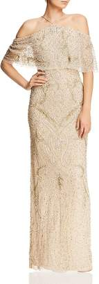 Aidan Mattox Cold-Shoulder Beaded Gown - 100% Exclusive