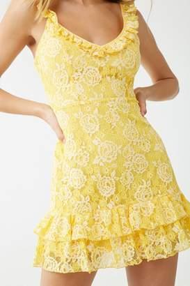 Forever 21 Floral Lace Ruffle-Trim Mini Dress