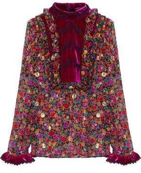 Anna Sui Velvet-Paneled Fil Coupé Printed Silk-Blend Georgette Blouse