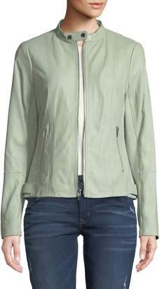 Via Spiga Leather Ponte-Contrast Moto Jacket