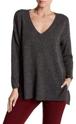 Blend of America Subtle Luxury Open Rib V-Neck Wool Cozy Sweater
