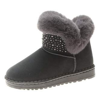 T-JULY Snow Boots Crystal Short Ankle Boots Women Fluffy Fur Plush Warm Winter Boots Ladies Flat Shoes