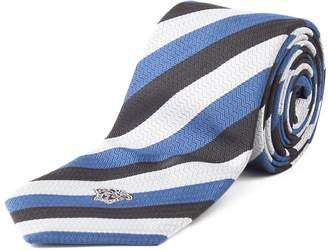 Versace Men's Slim Silk Medusa Striped Tie Black Silver