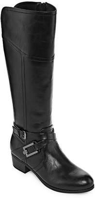Liz Claiborne Womens Trevi Riding Boots Block Heel Zip Wide Width
