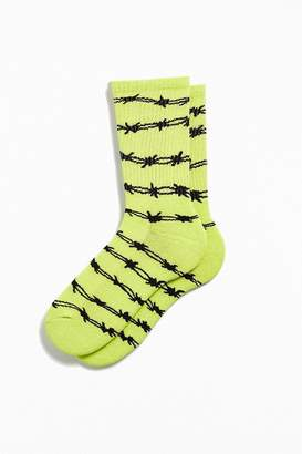 Urban Outfitters Neon Barbed Wire Sport Crew Sock