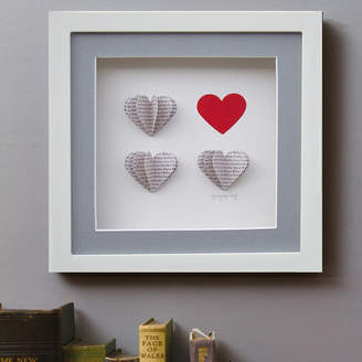 Daisy Maison Framed, Personalised 3D Box Of Hearts