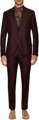 Valentino Silk Solid Notch Lapel Suit