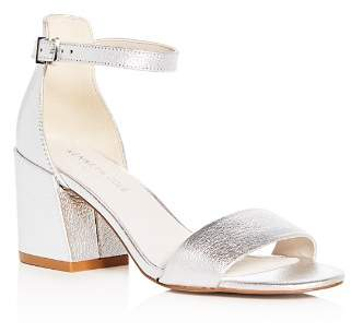 Kenneth Cole Women's Hannon Leather Ankle Strap Block Heel Sandals