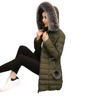 PENATE Women's Down Jackets PENATE Women Winter Warm Down Jacket Slim Solid Plush Hairball Cotton Coat Parka