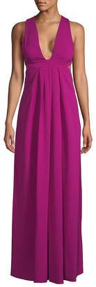 Jill Stuart Plunge Open Back Floor-Length Dress