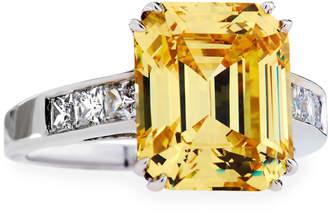 FANTASIA Emerald-Cut Canary CZ Crystal Ring