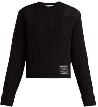 Proenza Schouler Pswl - Ribbed Knit Cotton Blend Sweater - Womens - Black