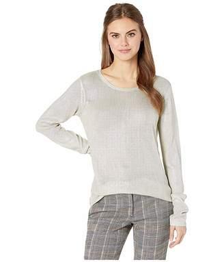 Majestic Filatures Silk Knit Metallic Long Sleeve Crew Sweater
