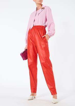 Tibi Tissue Leather Pull On Pants