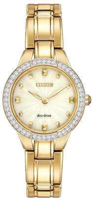 Citizen Women's Eco-Drive Silhouette Gold-tone Crystal Bezel Bracelet Watch, 28mm