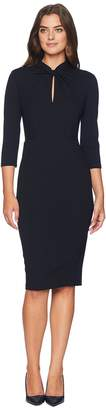 Donna Morgan Long Sleeve Crepe Sheath with Twisted Neckline Women's Dress