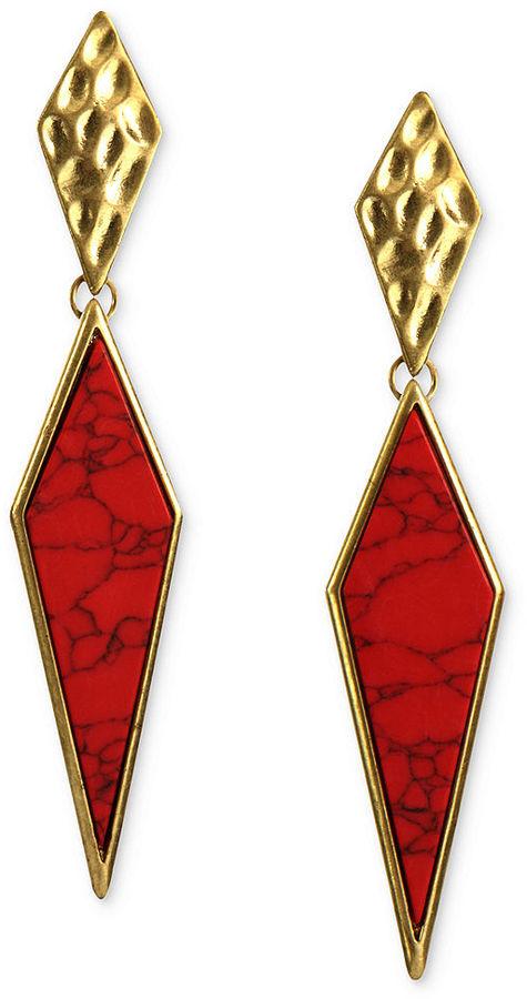 Rachel Roy Earrings, Gold-Tone Red Marbled Drop Earrings
