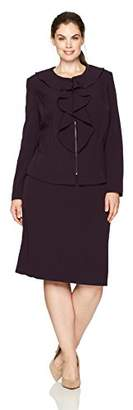 Tahari by Arthur S. Levine Women's Plus Size Ruffle Front Zip Skirt Suit