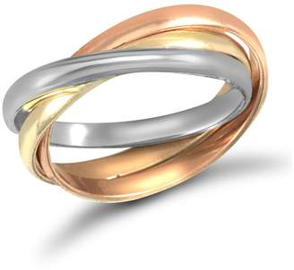 Jewelco London Yellow White and Rose Metal Interlocked Russian Wedding Ring