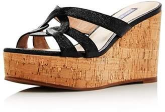 00a8b6b41218 Stuart Weitzman Black Metallic Leather Women s Sandals - ShopStyle