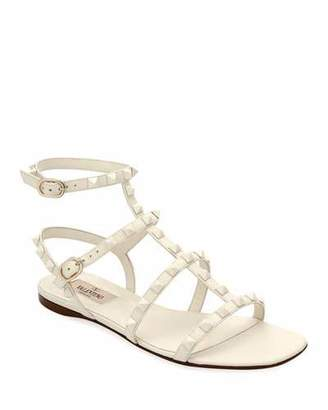 Valentino Rockstud Flat Strappy Leather Sandals (Tonal Hardware)