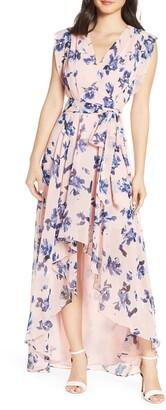 Eliza J Floral Chiffon High/Low Maxi Dress