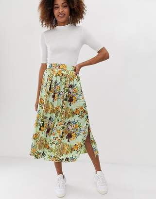Asos Design DESIGN pleated midi skirt with buttons in scarf print
