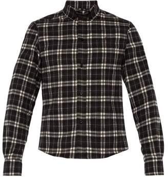 Balenciaga Checked Slim Fit Cotton Flannel Shirt - Mens - Black White