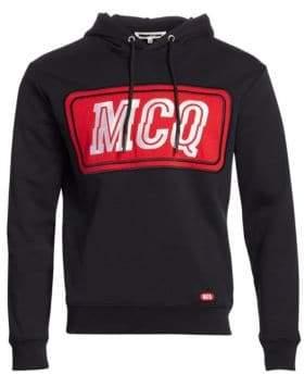 McQ Men's Big Embroidered Logo Hoodie - Darkest Black - Size Medium