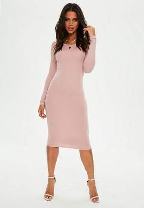 Missguided Rose Pink Long Sleeve Crew Neck Midi Dress