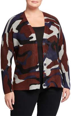 525 America Plus Plus Size Camo Button-Front Cotton Cardigan