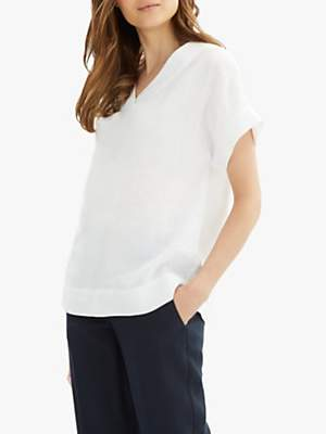 Jaeger Linen V-Neck T-Shirt, White