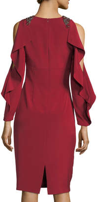 David Meister Split Ruffle Long-Sleeve Embellished Cocktail Dress