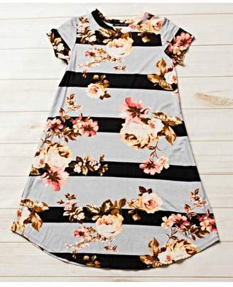 Honeydew Striped Floral Dress