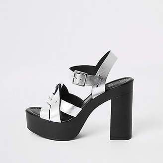 River Island Silver leather platform heels