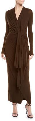 Urban Zen Transformer Tie-Front Long-Sleeve Stretch-Jersey Long Dress