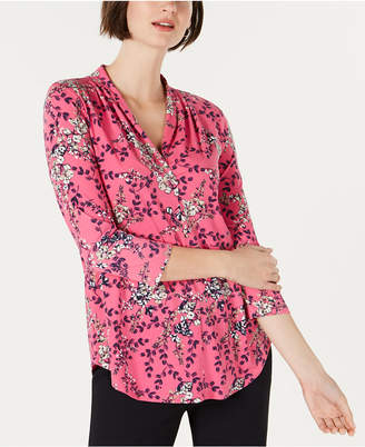 Charter Club Petite Floral-Print Pleated Top