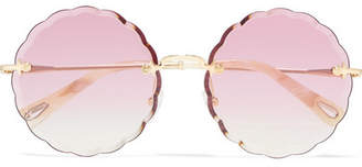 Chloé Scalloped Round-frame Gold-tone Sunglasses