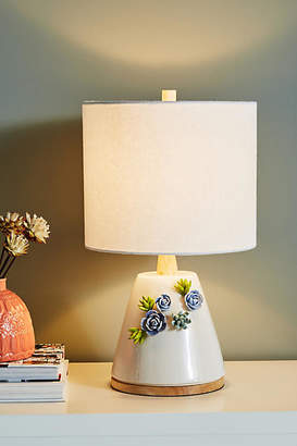 Anthropologie Ceramic Garden Table Lamp