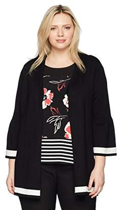 Calvin Klein Women's Plus Size Long Cardigan with Stripe Hem