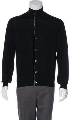 Brunello Cucinelli Wool & Cashmere Mock Neck Cardigan
