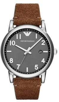 Emporio Armani Stainless Steel & Leather Suede Strap Watch