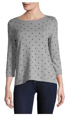 Karen Scott Petite Dot-Print Three-Quarter Sweater