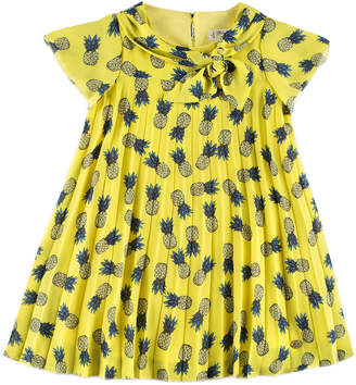 Carrera Pili Pineapple Pleated Dress, Yellow, Size 4-10
