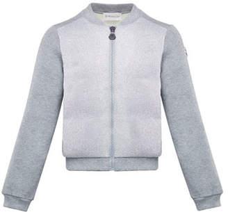 Moncler Contrast-Front Zip Cardigan, Size 4-6