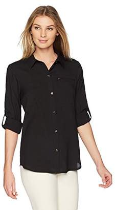 Lark & Ro Women's Utility Shirt with Roll-up Sleeves