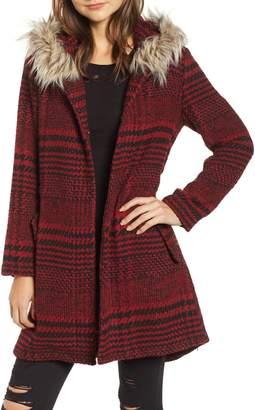 BB Dakota Play it Cool Coat with Faux Fur Trim
